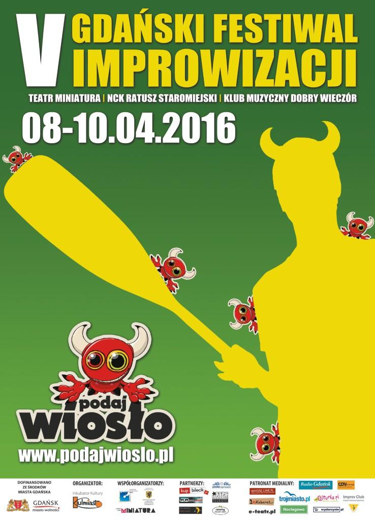 """plakatb2 738x1024 - V Gdański Festiwal Improwizacji """"PODAJ WIOSŁO"""" (08-10.04.2016)"""