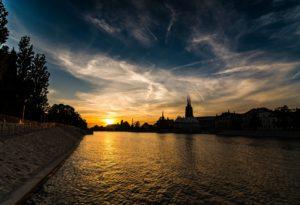 Zachód słońca we Wrocławiu