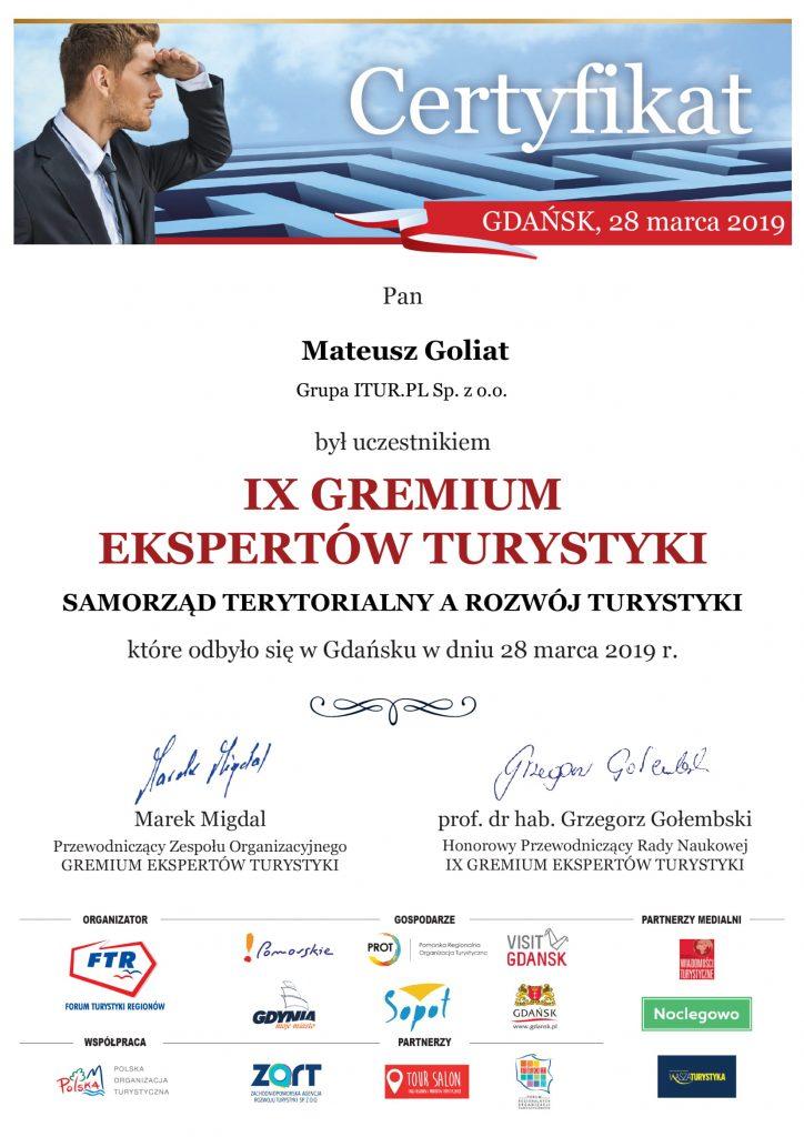 Goliat Mateusz certyfikat IX GET 1 724x1024 - Najem krótkoterminowy - szansa czy przekleństwo władz miast i gmin turystycznych