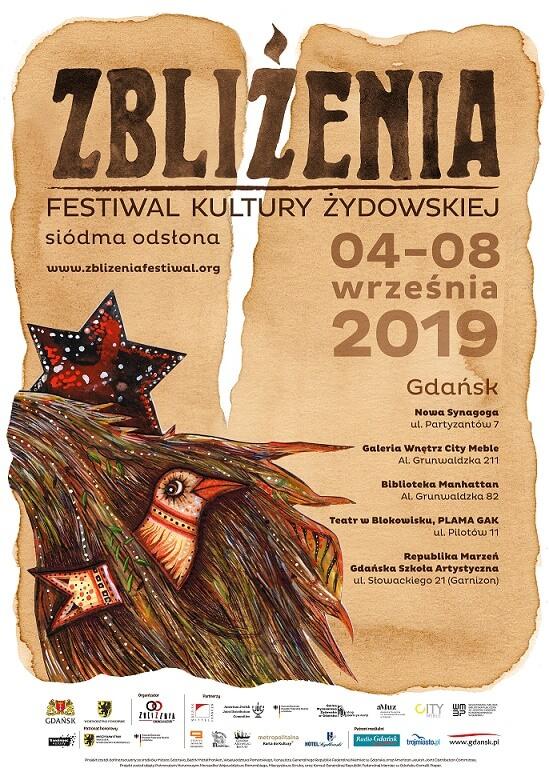 zblizenia plakat 2019 2 2 - VII Festiwal Kultury Żydowskiej ZBLIŻENIA w Gdańsku