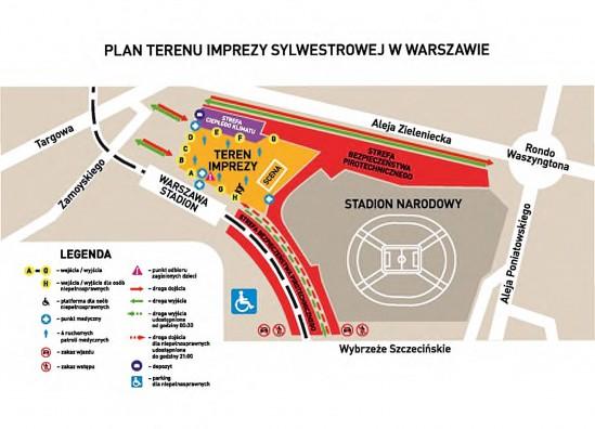 Sylwester w Warszawie - mapa